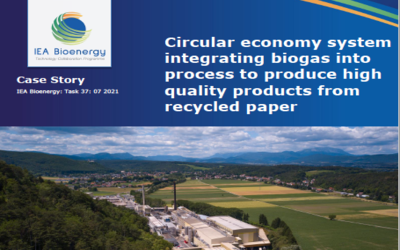 Circular economy system integrating biogas into process to produce high quality products from recycled paper